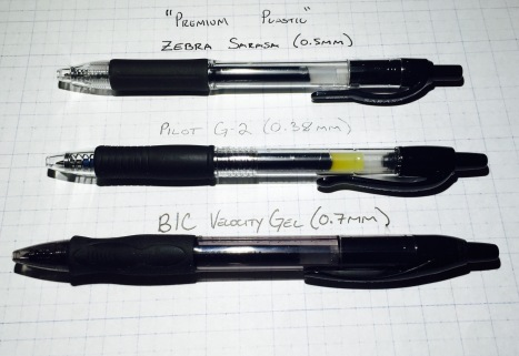 Sarasa, G-2, and Velocity Gel